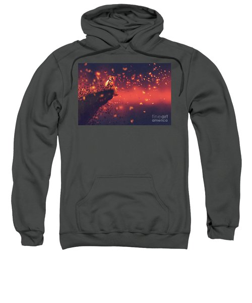 Sweatshirt featuring the painting Red Planet by Tithi Luadthong
