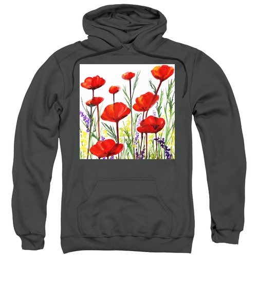 Red Poppies Art By Irina Sztukowski Sweatshirt by Irina Sztukowski