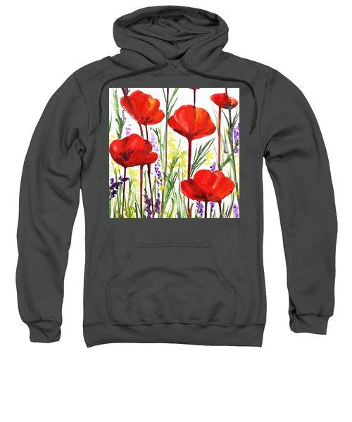 Red Poppies Watercolor By Irina Sztukowski Sweatshirt by Irina Sztukowski