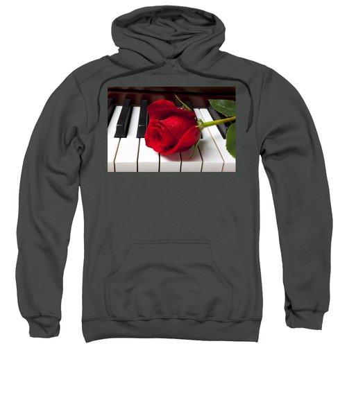 Red Rose On Piano Keys Sweatshirt