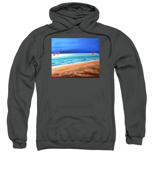 Sweatshirt featuring the painting Red Sails by Winsome Gunning