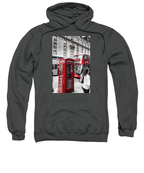 Red Telephone Box With Red Bus In London Sweatshirt