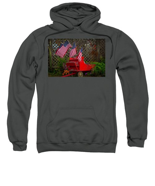 Red Wagon With Flags Sweatshirt