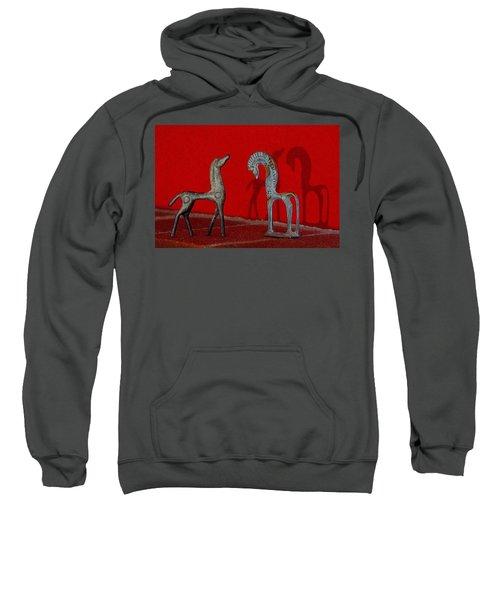 Red Wall Horse Statues Sweatshirt