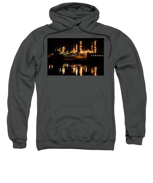 Sweatshirt featuring the photograph Refinery At Night 1 by Stephen Holst