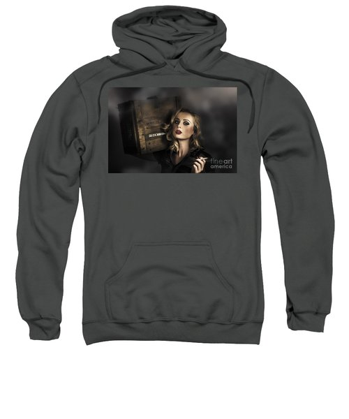 Retro Military Pinup Girl In Grunge Army Fashion Sweatshirt