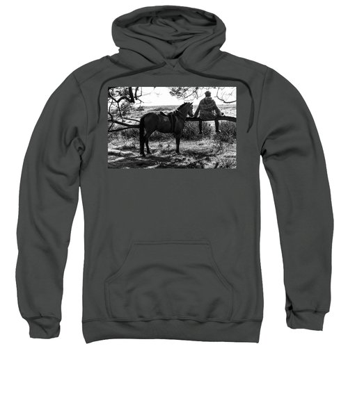 Rider And Horse Taking Break Sweatshirt