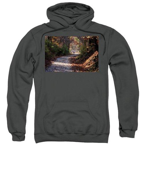 Riding Bikes On Park Trail In Autumn Sweatshirt
