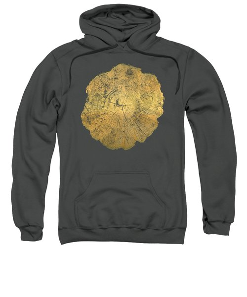 Rings Of A Tree Trunk Cross-section In Gold On Red Sweatshirt