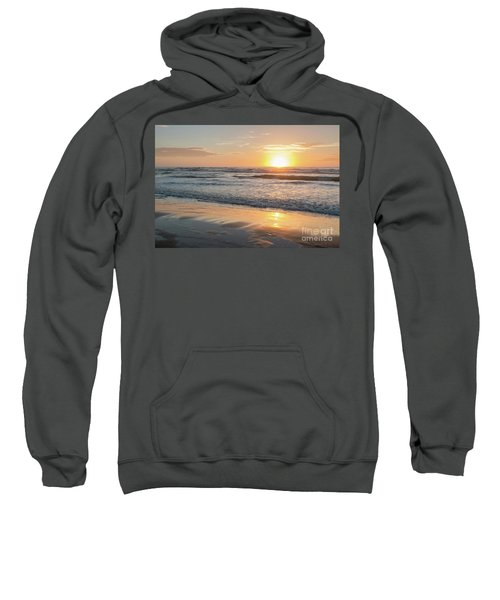 Rising Sun Reflecting On Wet Sand With Calm Ocean Waves In The B Sweatshirt