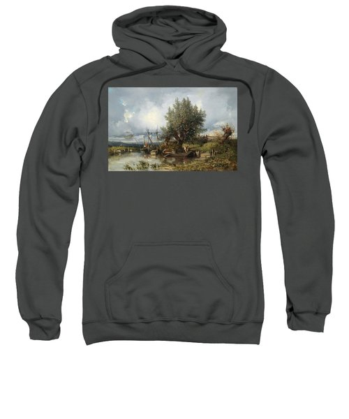 River Landscape With Anglers Sweatshirt