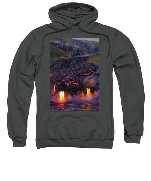 River Of Fire - Kilauea Volcano Eruption Lava Flow Hawaii Contemporary Landscape Decor Sweatshirt