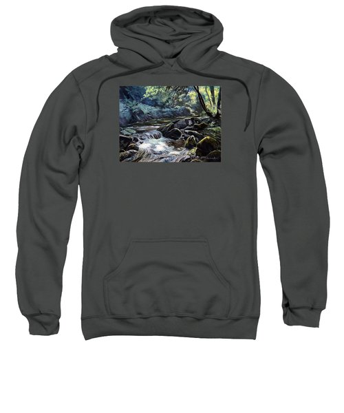 Sweatshirt featuring the painting River Taw Sticklepath by Lawrence Dyer