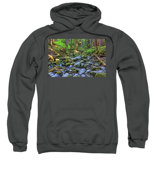Riverbed Full Of Mossy Stones With Small Cascade Sweatshirt