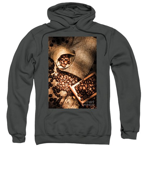 Roasted Coffee Beans In Drawer And Bags On Table Sweatshirt