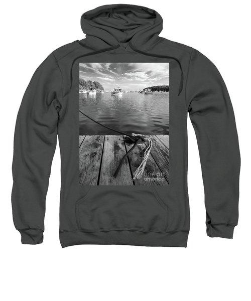 Rockport Harbor, Maine #80458-bw Sweatshirt