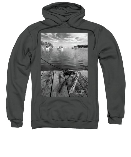 Rockport Harbor, Maine #80458-bw Sweatshirt