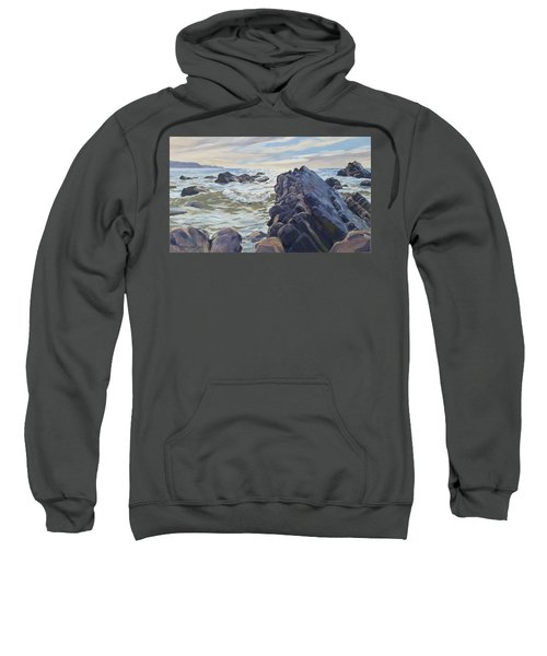 Sweatshirt featuring the painting Rocks At Widemouth Bay, Cornwall by Lawrence Dyer