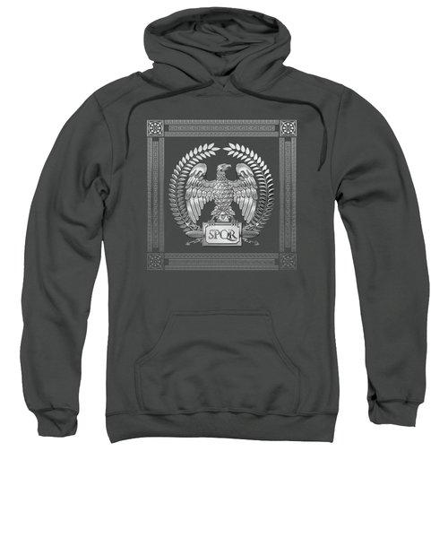 Roman Empire - Silver Imperial Eagle Over Red Velvet Sweatshirt