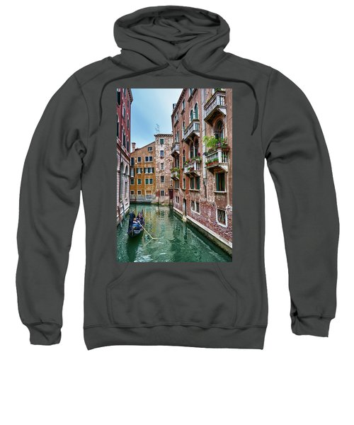 Gondola Ride Surrounded By Vintage Buildings In Venice, Italy Sweatshirt