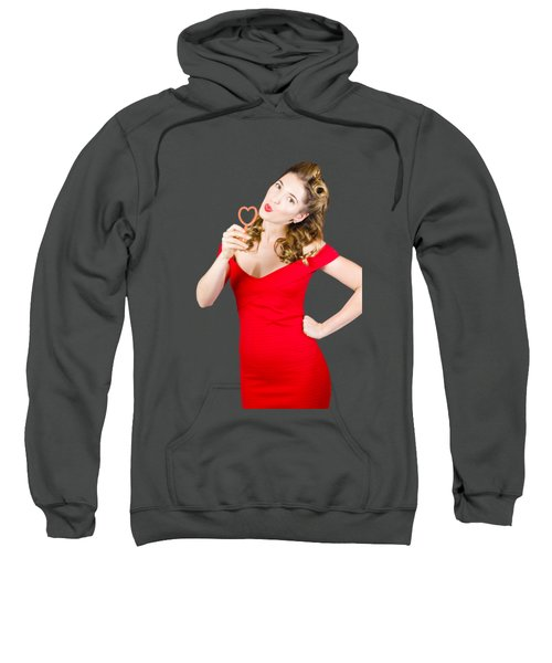 Romantic Blond Pin-up Lady Blowing Party Bubbles Sweatshirt
