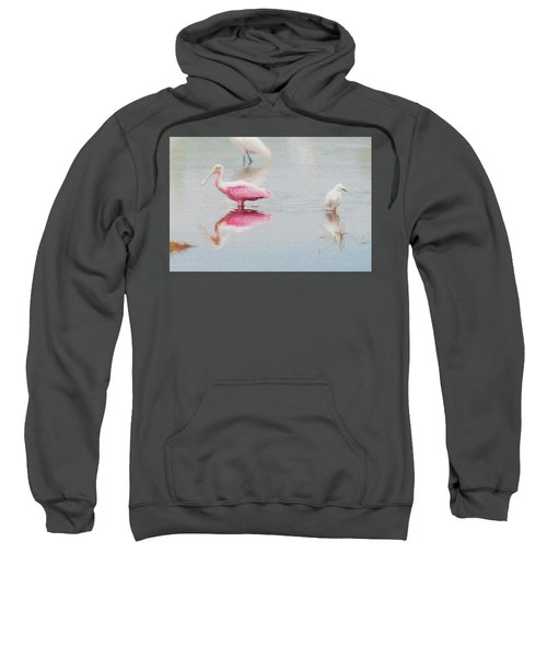 Roseate Spoonbill Eating In A Lagoon Sweatshirt