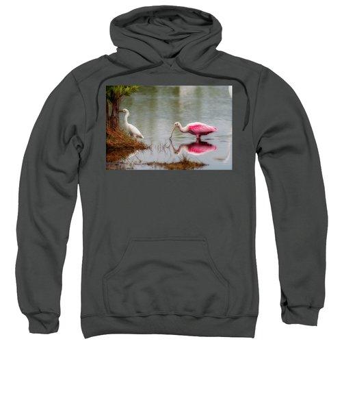 Roseate Spoonbill Eating In Southern Florida Sweatshirt