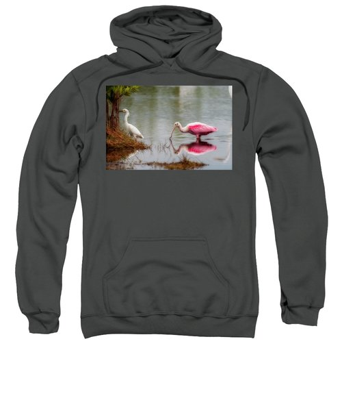 Roseate Spoonbill Eating In Southern Florida Sweatshirt