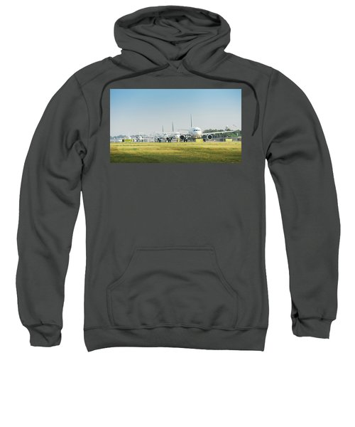 Row Of Airplanes Ready To Take-off Sweatshirt