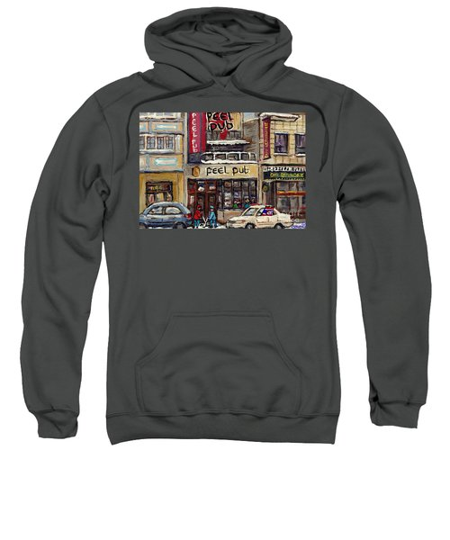 Rue Peel Montreal Winter Street Scene Paintings Peel Pub Cafe Republique Hockey Scenes Canadian Art Sweatshirt