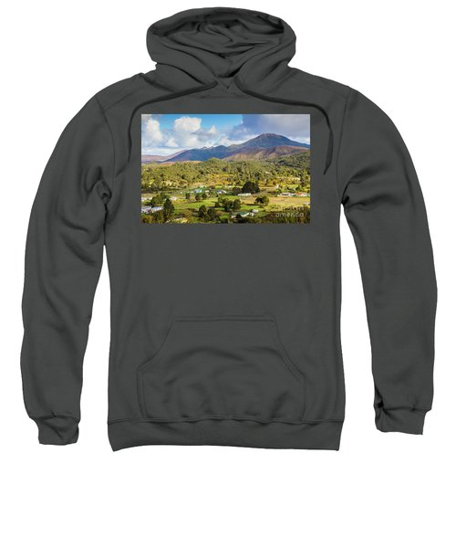 Rural Landscape With Mountains And Valley Village Sweatshirt