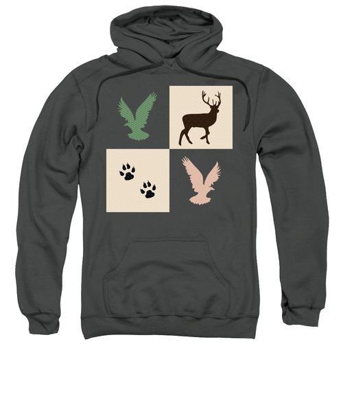 Sweatshirt featuring the mixed media Rustic Wildlife Pattern by Christina Rollo