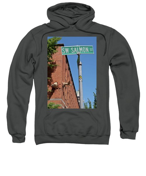 Salmon Through A Building Sweatshirt