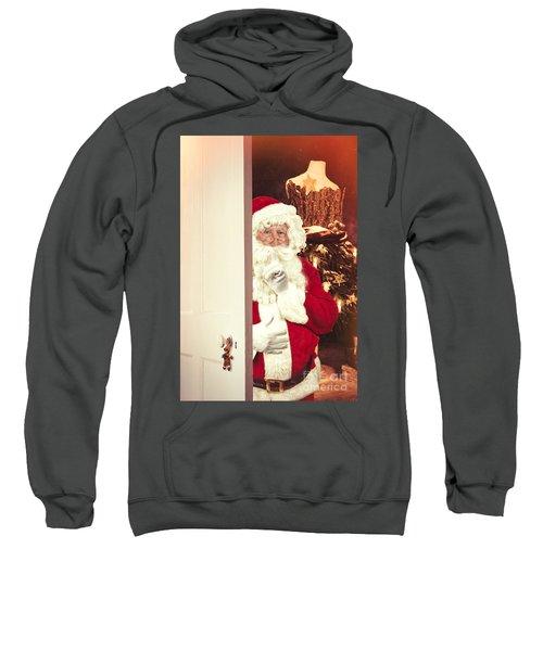 Santa Claus At Open Christmas Door Sweatshirt