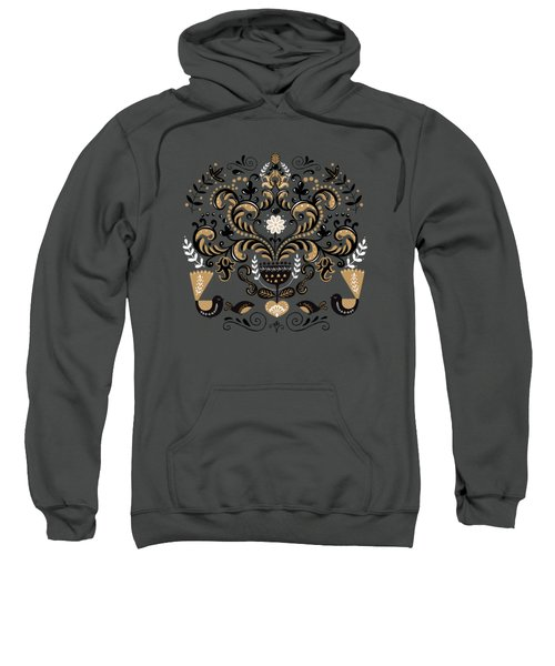 Scandinavian Floral Decoration With Birds Sweatshirt