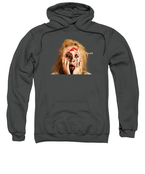 Scared Halloween Monster With Nail Through Head Sweatshirt