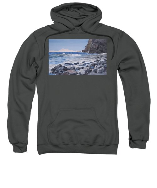 Sweatshirt featuring the painting Sea Pounded Stones At Crackington Haven by Lawrence Dyer