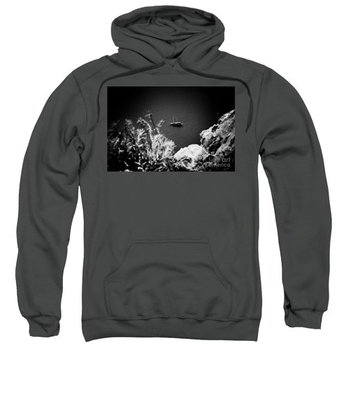 Seascape With Boat Artmif.lv Balck And White Sweatshirt