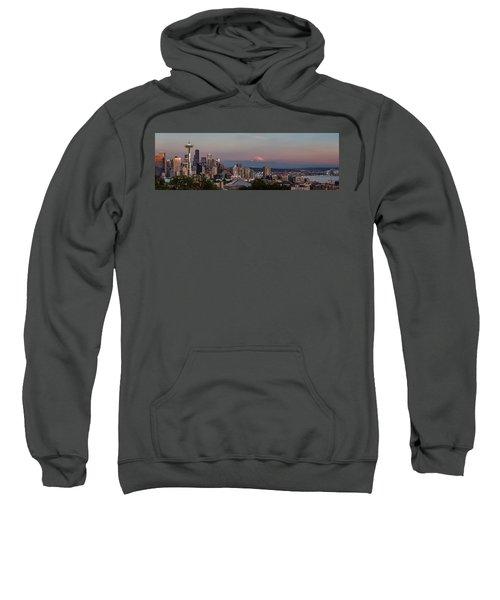 Sweatshirt featuring the photograph Seattle Skyline And Mt. Rainier Panoramic Hd by Adam Romanowicz
