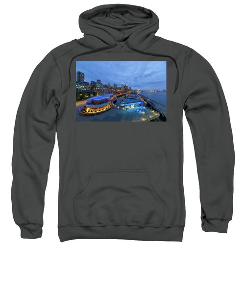 Seattle Skyline From The Waterfront At Blue Hour Sweatshirt