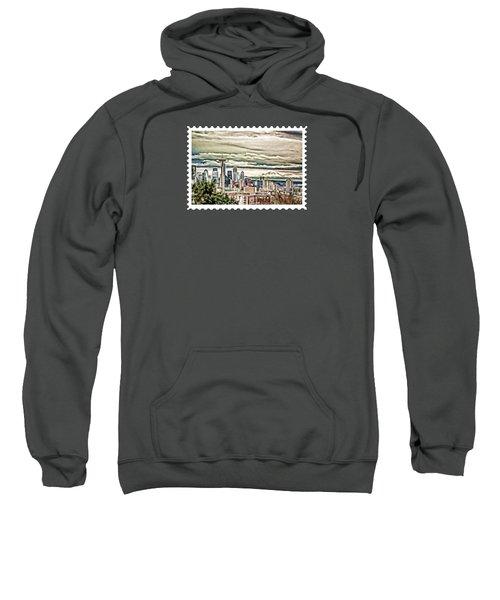 Seattle Skyline In Fog And Rain Sweatshirt by Elaine Plesser