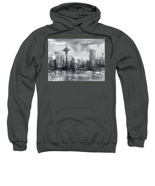 Seattle Skyline Painting Watercolor  Sweatshirt by Olga Shvartsur