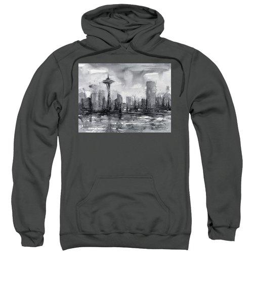 Seattle Skyline Painting Watercolor  Sweatshirt