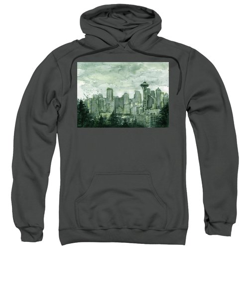 Seattle Skyline Watercolor Space Needle Sweatshirt by Olga Shvartsur