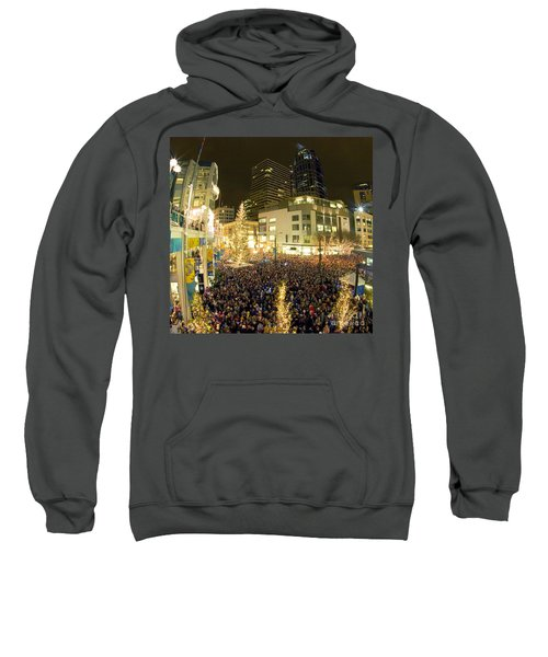 Sweatshirt featuring the photograph Seattle Westlake Tree Lighting by Peter Simmons