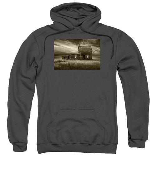 Sepia Tone Of Abandoned Prairie Farm House Sweatshirt