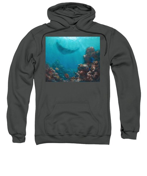 Serenity - Hawaiian Underwater Reef And Manta Ray Sweatshirt