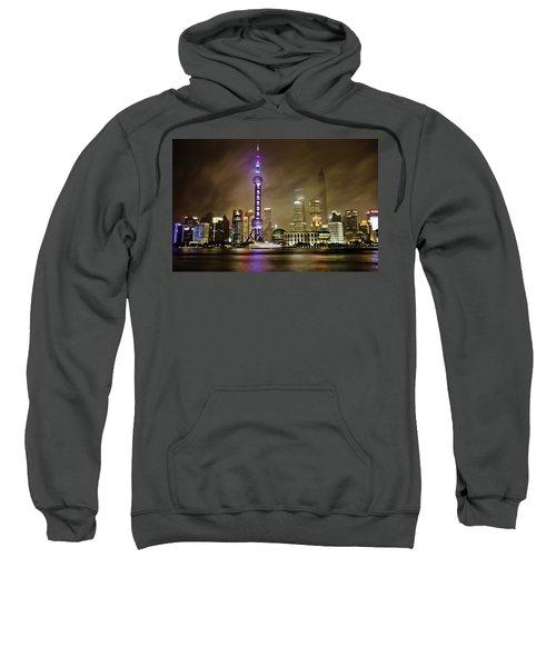 Sweatshirt featuring the photograph Shanghai Skyline by Chris Cousins
