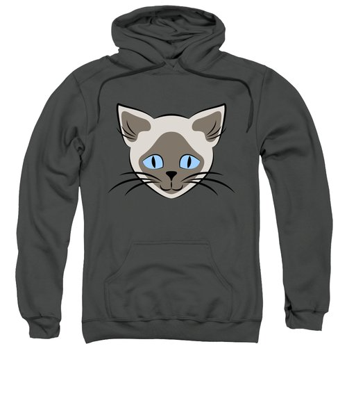 Siamese Cat Face With Blue Eyes Light Sweatshirt