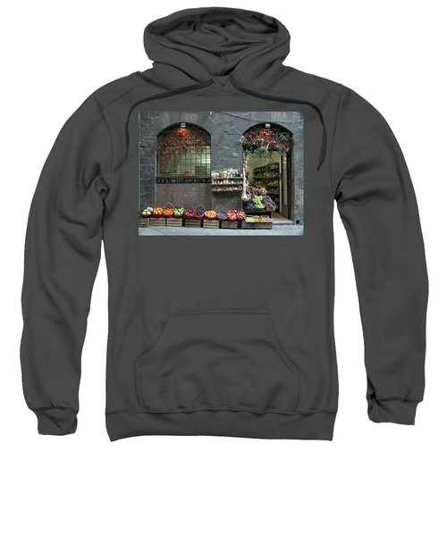 Sweatshirt featuring the photograph Siena Italy Fruit Shop by Mark Czerniec